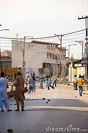 Children Throwing Rocks Indian Police Kashmir Editorial Stock Image