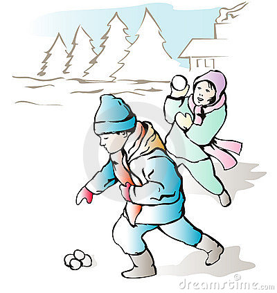 Children throwing snow balls