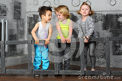 Children together carry stairs