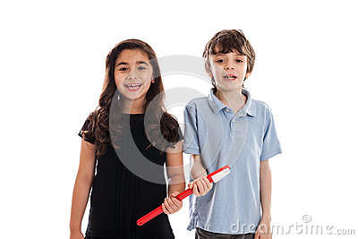 Children with toothbrush