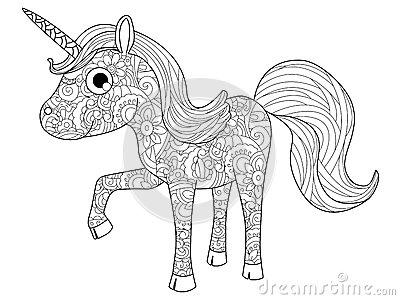Children Toy Unicorn Coloring Vector For Adults Stock ...