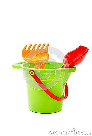 Free Children Toys  Bucket  Shovel And  Rake Royalty Free Stock Photos - 26082658