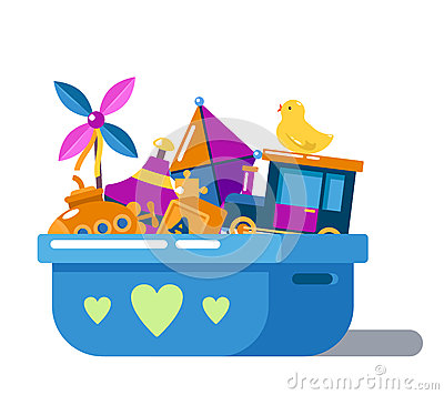 Free Children Toys In Box With Hearts Or Chest Royalty Free Stock Photography - 82134017