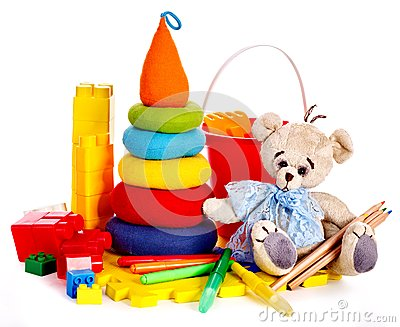 Children toys with teddy bear.