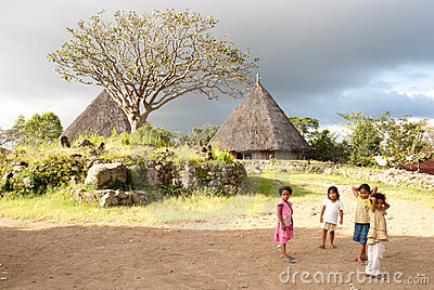 Children in a traditional village Editorial Image