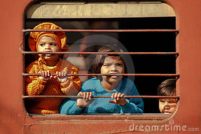 Children On Train Editorial Photo