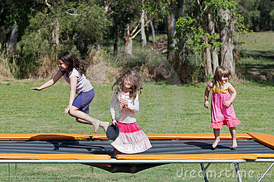 Children on trampoline