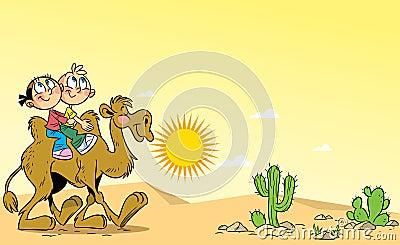 Children traveling on a camel through the desert