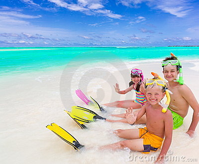 Children on tropical beach