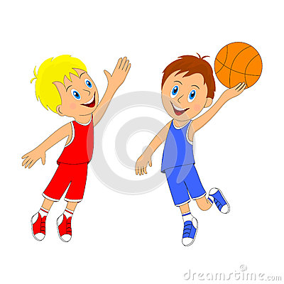 Children,two Boys Playing Basketball Stock Illustration ...