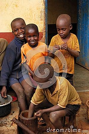 Children in Uganda Editorial Stock Image