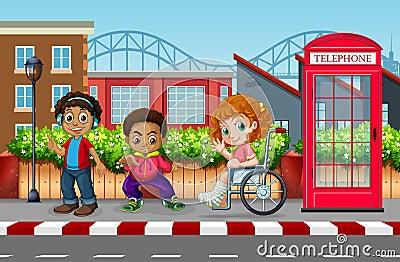 Children in the urban city Vector Illustration