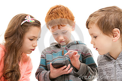 Children using kids smartphone