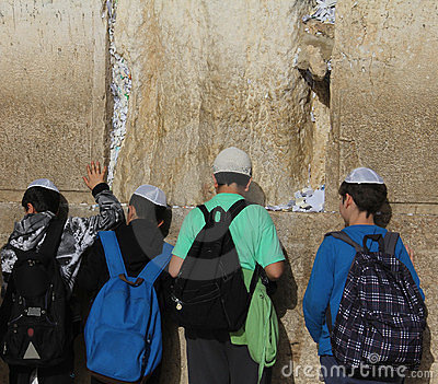 Children  at the Wailing wall Editorial Photo