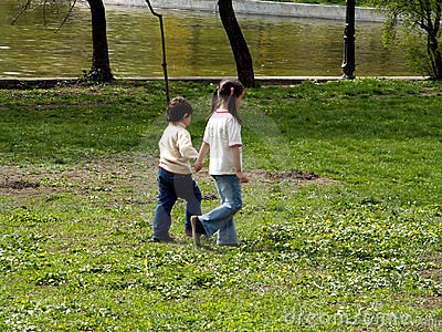 Children walking in the park Editorial Image