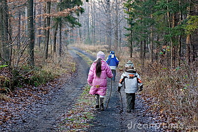 Children Walking In Winter Forest