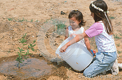Children watering a sapling Editorial Stock Photo