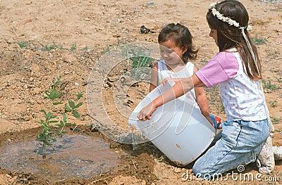 Children watering a sapling Editorial Stock Photo