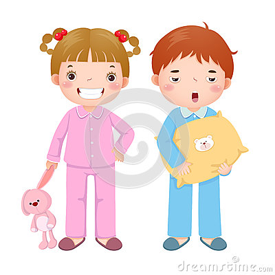 Free Children Wearing Pajamas And Getting Ready To Sleep Stock Photo - 78796380