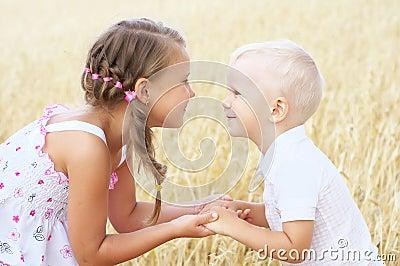 Children in wheat field