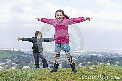 Children in the wind.
