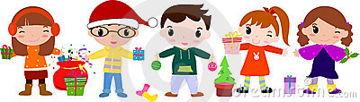 Children that wish Merry Christmas