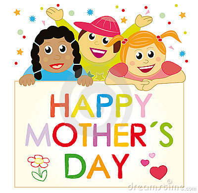 Children wishing a happy mother´s day