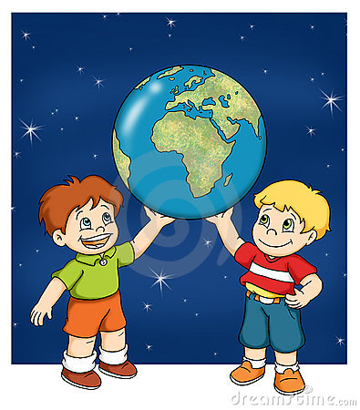 Children with the world map