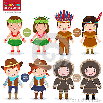 Free Children World Usa Hawaiian Native American Cowboys Eskimo Stock Photos - 65591053