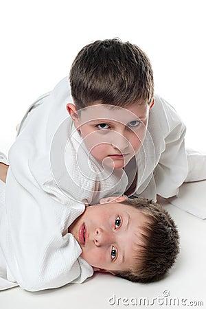 Children wrestling
