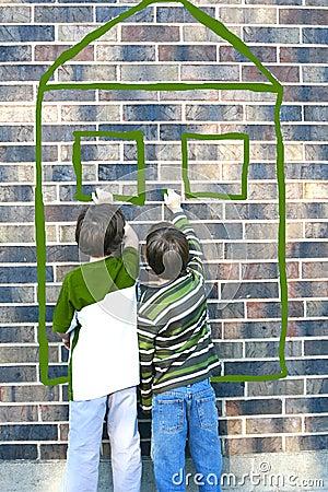 Free Children Writing On Brick Wall Stock Photos - 3356343