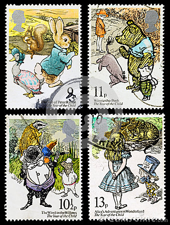 Free Childrens Book Postage Stamps Royalty Free Stock Photography - 29817837