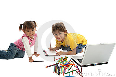 Childrens drawing together