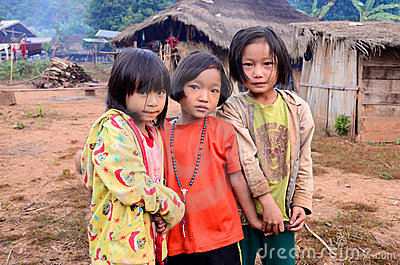 Childrens of Karen villager in poverty village. Editorial Photo
