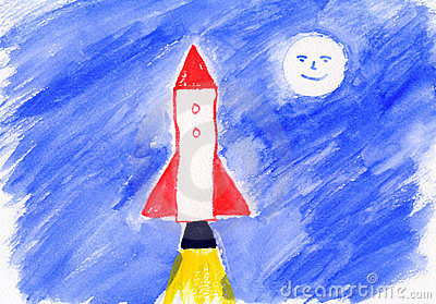 Childrens Painting - Rocket - Artwork