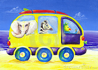 Childrens painting of surf van with exotic animals