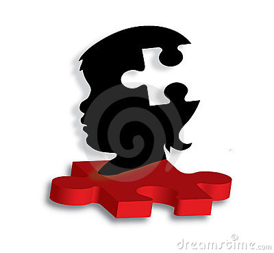 Childs silhouette on autism puzzle piece