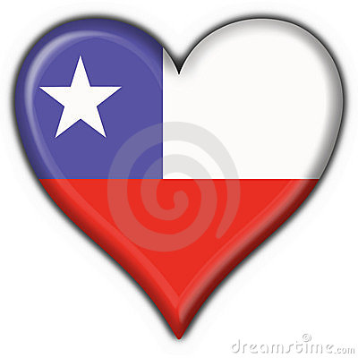 Chile button flag heart shape
