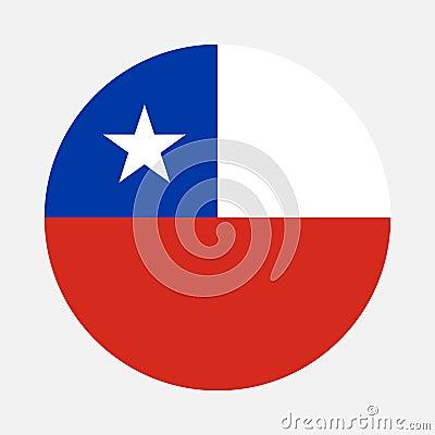Chile flag circle Vector Illustration