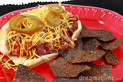 Chili Cheese Hot Dog With Spicy Blue Corn Tortilla
