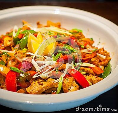Chili chicken dish Stock Photo