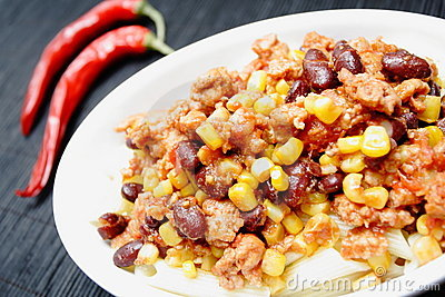 Chili con carne and red peppers