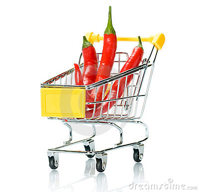 Chili papper in the shopping cart