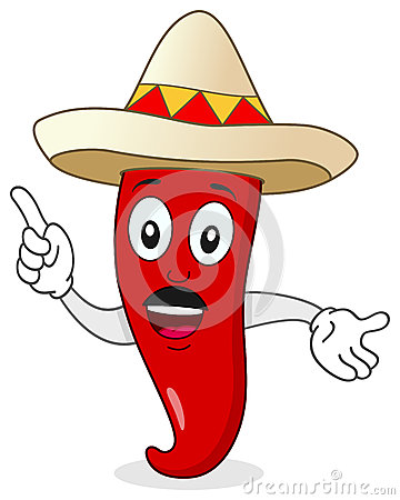 Chili Pepper Character with Mexican Hat