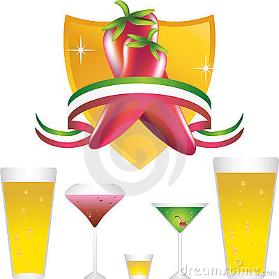 Chili Peppers with Gold Shield and Drinks