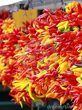 Chili peppers at a produce stand