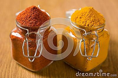 Chili powder pepper and turmeric