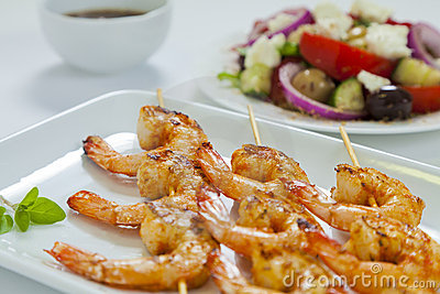 Chili prawn skewers close-up