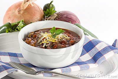 Chili in White Bowl
