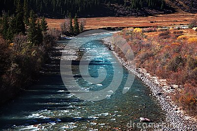 Chilik river in Kazakhstan